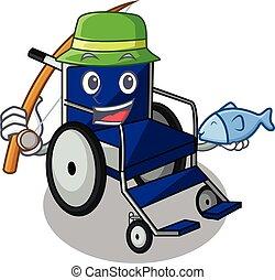 Fishing cartoon wheelchair in a hospital room