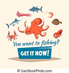 Fishing catch of fishes or vector seafood mollusks