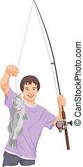 fishing., chłopiec, teenage, wektor