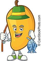 Fishing character mango fruit with cartoon mascot