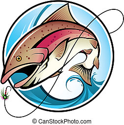 Fishing - Illustration of a rainbow trout jumping out of the...