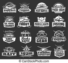 Fishing club adventure, fish catch tackles icons