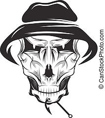 fishing club emblem with skull in panama hat