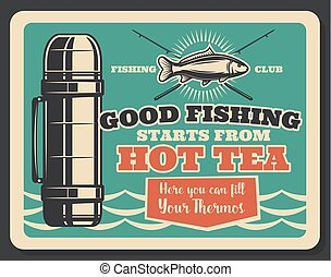 Fishing club retro card with badge of fish and rod