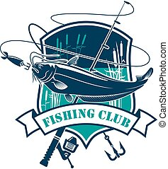 Fishing club vector icon with fish catch