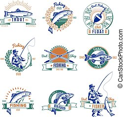 Fishing Colorful Labels Set