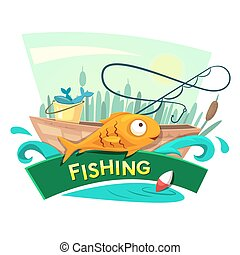 Fishing concept design, vector illustration