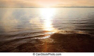 Fishing Cone Geyser - Morning at Fishing Cone geyser along...