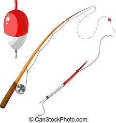 fishing., conjunto, eps10, engranaje