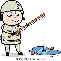 Fishing - Cute Army Man Cartoon Soldier Vector Illustration