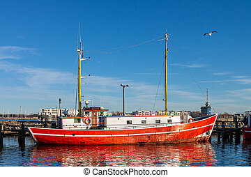 Fishing cutter in the port of Warnemuende, Germany.
