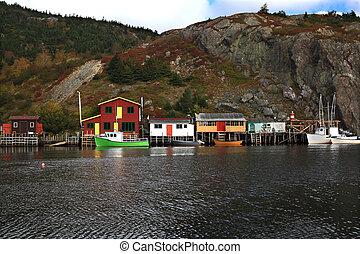 Fishing: Docks, Cabins, Boats on Quidi Vidi Lake Harbor,...