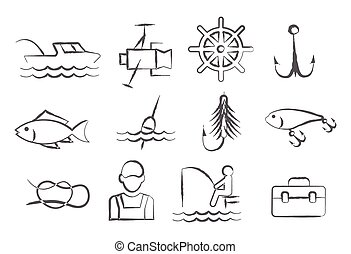 Fishing Doodle Icons