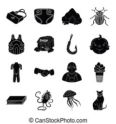 fishing, education, medicine and other web icon in black...