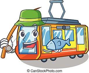 Fishing electric train toys in shape mascot