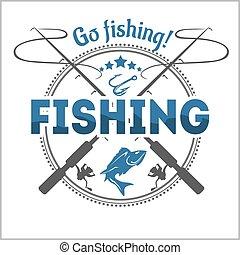 Fishing emblem, badge and design elements - vector illustration