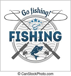 Fishing emblem, badge and design elements