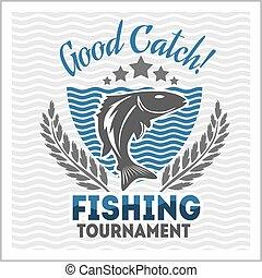 Fishing emblem, badge and design elements