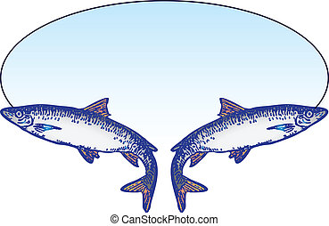 Fishing oval emblem with two fish. Vector illustration.