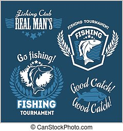 Fishing emblems, badges and design elements