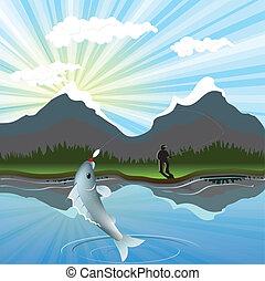 fishing - illustration, fisherman has went fishing in bugle...