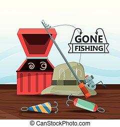 fishing equipment basic for catch vector illustration