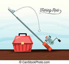 fishing equipment bucket and rod vector illustration