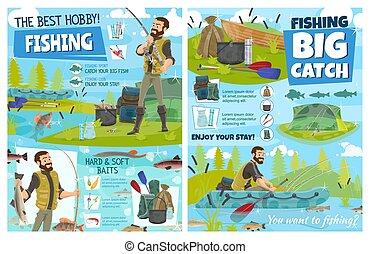 Fishing equipment, fisherman rod, boat, fish catch