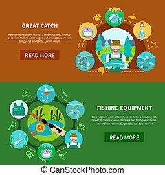 Fishing Equipment Horizontal Banners - Fishing equipment...