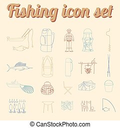 Fishing equipment icon set. Outline version. Vector...