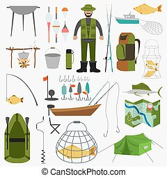 Fishing equipment icon set