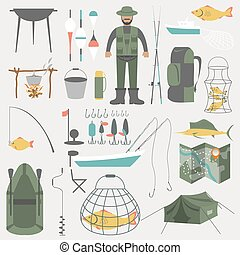 Fishing equipment icon set. Vector illustration