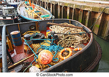 Fishing equipment in the boat