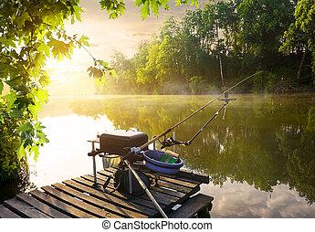Fishing equipment on pier