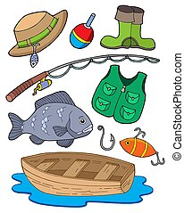 Fishing equipment on white background - isolated ...