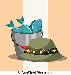fishing equipment related - bucket with fishes and hat...
