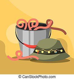 fishing equipment related - bucket with worms and hat...