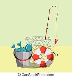 fishing equipment related - fishing equipment rod bucket...