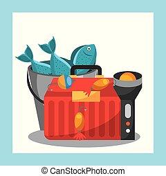 fishing equipment related - fishing equipment tackle box...