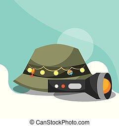 fishing equipment related - hat and lantern fishing...