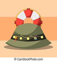fishing equipment related - lifebuoy and hat fishing...