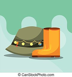 fishing equipment related - rubber boots and hat fishing...