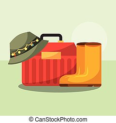 fishing equipment related - tackle box and boots hat fishing...