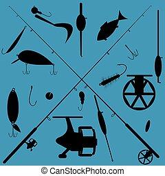fishing equipment set - Fishing equipment icons set on blue...