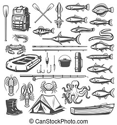 Fishing equipment, tackle and fish icons
