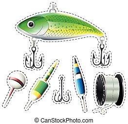 Fishing equipment with hooks and floats illustration