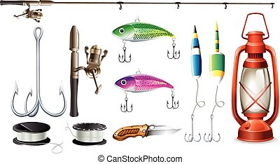 Fishing equipment with pole and hooks illustration