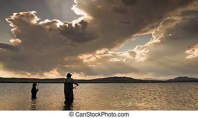 Fishing - Father and son fishing at Eleven Mile Reservoir, ...