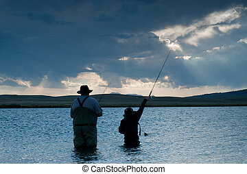Fishing - Father and son fishing at Eleven Mile Reservoir,...