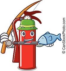 Fishing fire extinguisher mascot cartoon